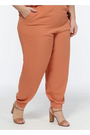 Mink Mulher Calça Jogger - Calça Jogger Plus Size Ferrugem com Bolsos