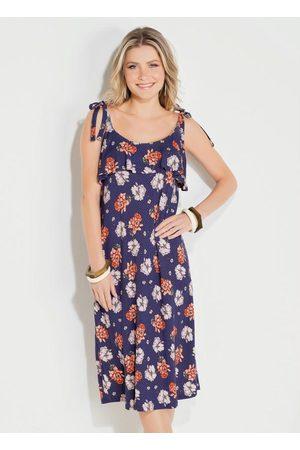 QUEIMA ESTOQUE Mulher Vestido Estampado - Vestido Quintess Midi Floral Marinho com Babado