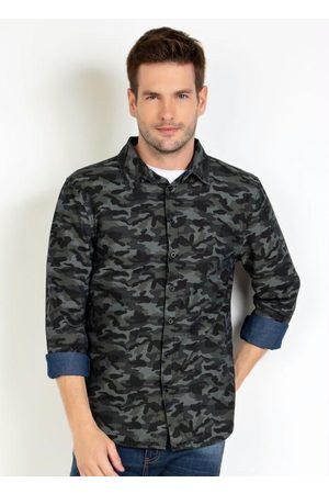 Actual Homem Camisa Casual - Camisa Camuflado Manga Longa