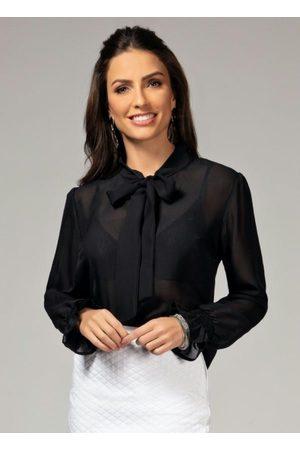 QUINTESS Blusa Preta com Faixa para Amarrar no Pescoço