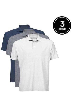 Basicamente Kit de 3 Camisas Polo Masculinas de Várias Cores B