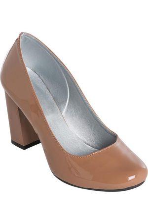 QUEIMA ESTOQUE Mulher Sapatos - Sapato Envernizado Nude de Salto Quadrado