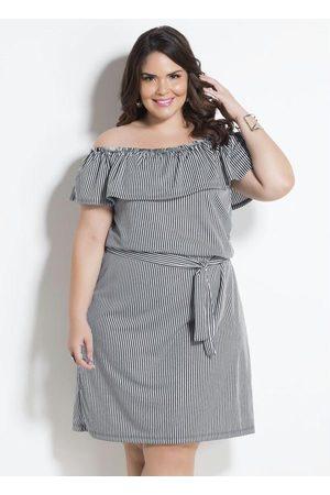 Marguerite Vestido Ciganinha Listrado com Faixa Plus Size