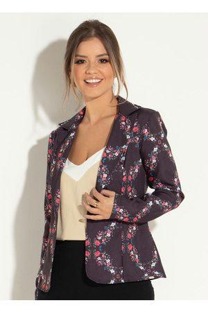 QUINTESS Mulher Blazer - Blazer Floral com Recorte Central