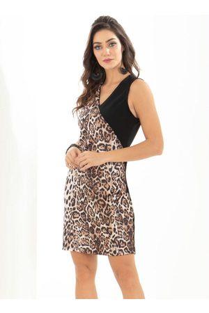 QUEIMA ESTOQUE Mulher Vestido Estampado - Vestido Quintess Animal Print e Decote V