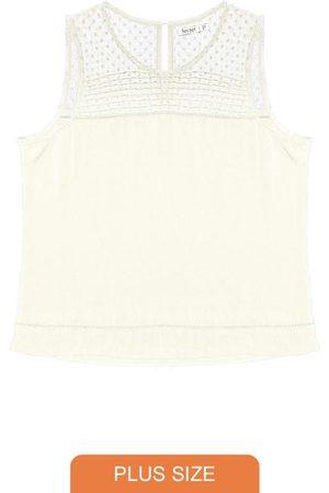 Secret Glam Mulher Regata - Regata Feminina Plus Size Off White