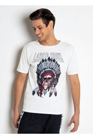 QUEIMA ESTOQUE Homem Manga Curta - Camiseta Caveira com Cocar Branca