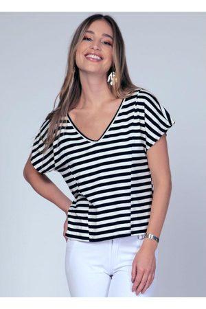 QUINTESS Blusa Listras Branca com Recorte Frontal