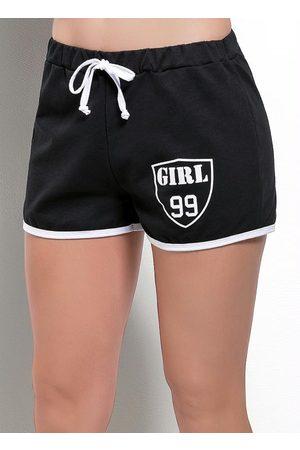 MODA POP Menina Shorts Esportivos - Short e Branco com Estampa Girl 99