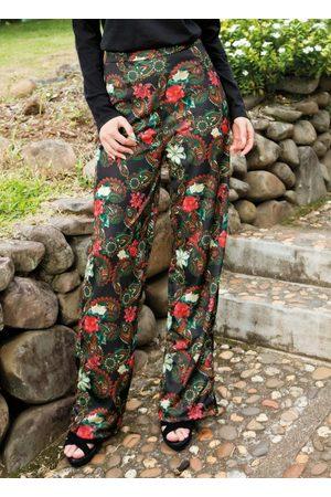 QUEIMA ESTOQUE Mulher Calça Pantalona - Calça Pantalona Estampa Paisley com Faixa
