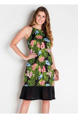 QUEIMA ESTOQUE Mulher Vestido Estampado - Vestido de Alças Floral com Babado