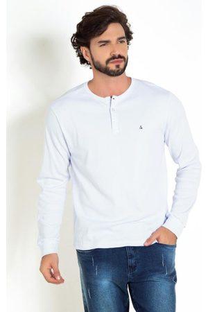Actual Camiseta Branca com Mangas Longas e Botões