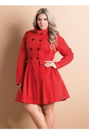 QUINTESS Mulher Trench Coat - Sobretudo Acinturado Plus Size