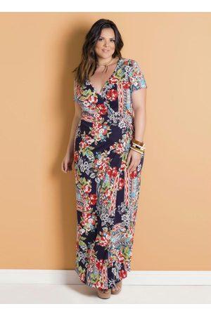 Marguerite Mulher Vestido Estampado - Vestido Longo Envelope Floral Escuro Plus Size
