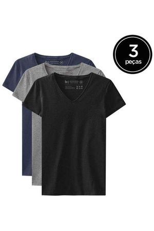Basicamente Kit de 3 Camisetas Babylook Básicas Gola V de Vári