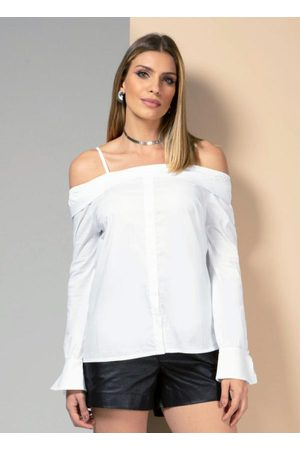QUINTESS Camisa Branca com Decote Reto e Mangas Longas