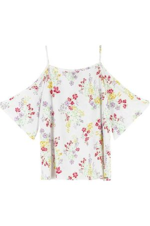 ENFIM Blusa Branca Floral com Abertura