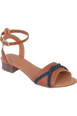 QUEIMA ESTOQUE Mulher Sandálias - Sandália Salto Baixo Caramelo com Detalhe Jeans