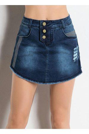 Janine Short Saia com Bolsos Jeans