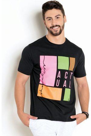 Actual Homem Camisolas de Manga Curta - Camiseta Preta com Estampa Neon Manga Curta