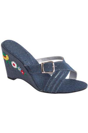 QUEIMA ESTOQUE Mulher Chinelos - Tamanco Transpassado Jeans com Bordado