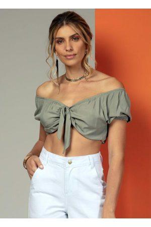 QUINTESS Mulher Blusa - Blusa Cropped com Amarração na Frente