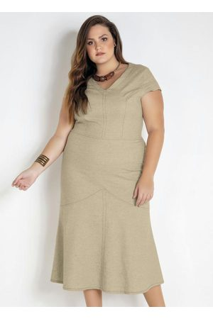 Mink Mulher Vestido Médio - Vestido Midi Linho Plus Size
