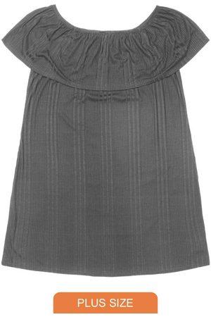 Rovitex Plus Size Mulher Vestido Ombro a Ombro - Vestido Ciganinha