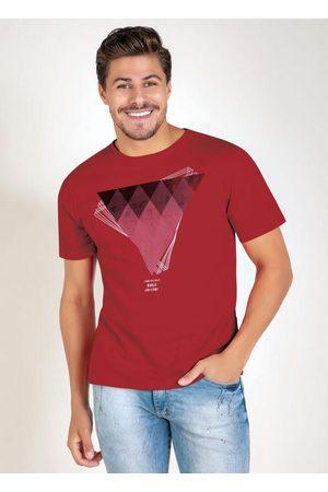 MODA POP Homem Camisolas de Manga Curta - Camiseta Vermelha com Mangas Curtas