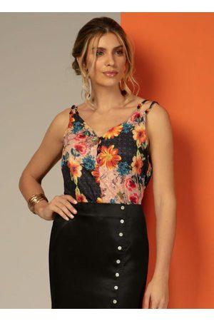 QUINTESS Mulher Blusa - Blusa de Alças Floral Laranja com Pérolas