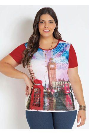 Marguerite T-Shirt Vermelha Plus Size com Estampa Frontal