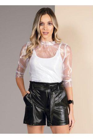 QUINTESS Blusa Branca com Transparência e Mangas Bufantes