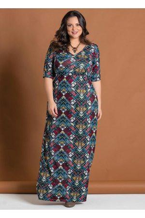 Marguerite Mulher Vestido Longo - Vestido Étnico Decote V Plus Size
