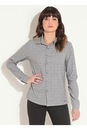 QUINTESS Mulher Camisa Casual - Camisa Xadrez com Botões