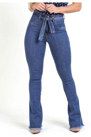 Sawary Jeans Mulher Calça Flare - Calça Flare Jeans Sawary com Faixa e Amarração