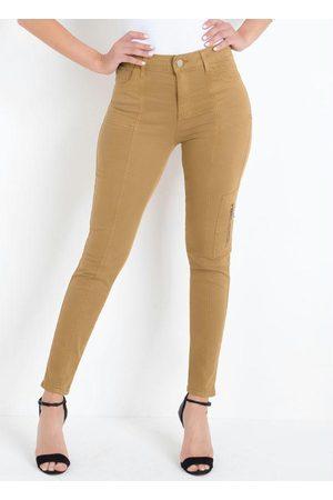 Sawary Jeans Calça Cargo Caramelo Sawary