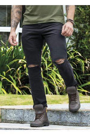 Actual Calça Skinny Preta Destroyed com Bolsos