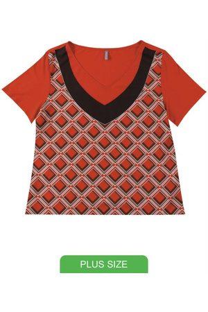 Cativa Plus Size Blusa Decote V Estampada