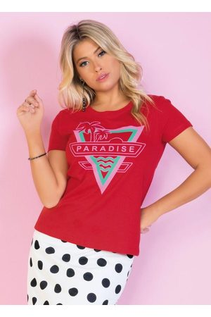 QUEIMA ESTOQUE T-Shirt Vermelha com Estampa Frontal