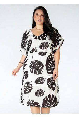 Mink Mulher Vestido Estampado - Vestido Plus Size Estampado Folhas