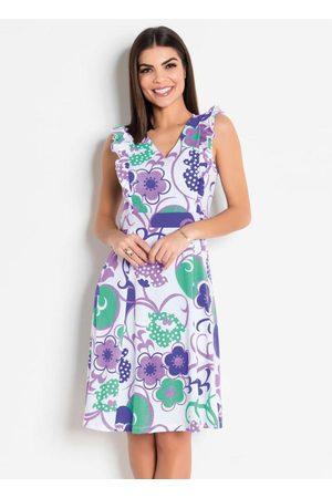 ROSALIE Mulher Vestido Estampado - Vestido Floral com Babados Moda Evangélica
