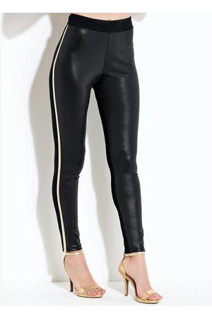 QUINTESS Mulher Calça Legging - Calça com Tiras Metalizadas Preta