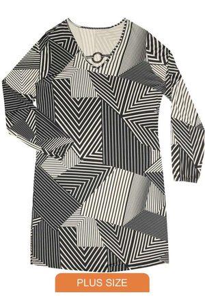 Rovitex Plus Size Vestido Feminino Estampa Geométrica