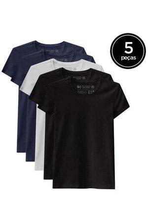 Basicamente Mulher Camiseta - Kit de 5 Camisetas Babylook Básicas de Várias Core