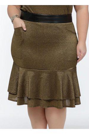 Mink Mulher Minissaia - Saia Plus Size Dourada com Babados na Barra