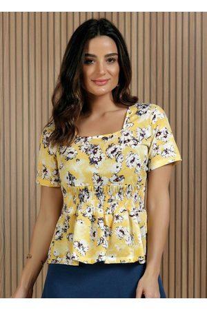 ROSALIE Blusa Floral com Decote Quadrado Moda Evangélica