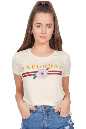 Up Close Mulher Camiseta - T-Shirt com Estampa de Listras e Flor