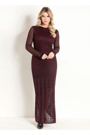 ROSALIE Mulher Vestido de Tricot - Vestido Longo de Tricô Vinho Moda Evangélica
