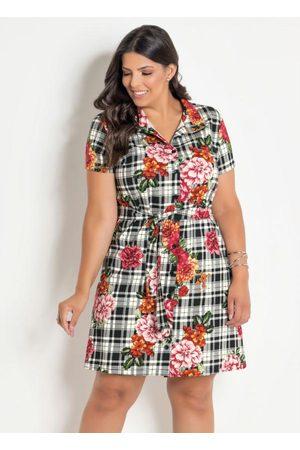 Marguerite Vestido Chemise Plus Size Xadrez/Floral