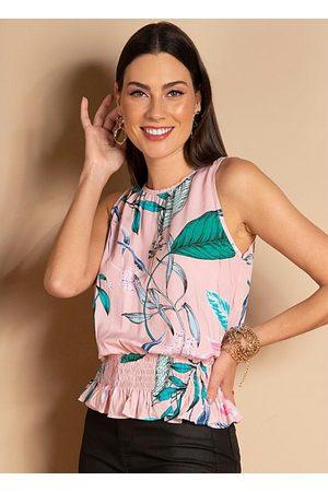 QUINTESS Blusa sem Mangas Floral com Barra Franzida